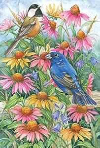 Toland Home Garden Chickadee and Indigo Bunting Garden Flag 五彩 Large-House-28x40