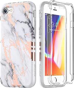 SURITCH 大理石 iPhone 8 手机壳/iPhone 7 手机壳,[内置屏幕保护膜] 全身保护硬质 PC 缓冲 + 光滑柔软 TPU 橡胶凝胶防震保护套适用于 iPhone 7/iPhone 8 白色/金色