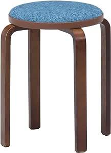 不二贸易 凳子 木制 长筒袜 蓝色/棕色 直径32×高さ47cm 14547