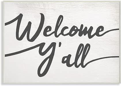 The Stupell 家居装饰系列 Southern Welcome Y'all 字体印刷拉伸帆布墙壁艺术 多色 10 x 15 sca-149_wd_10x15