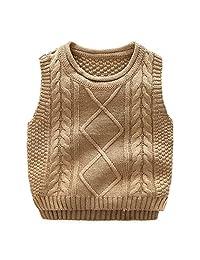 Anbaby 男童针织毛衣背心儿童圆领学生套头衫