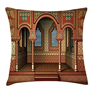 Arabesque Decor Throw Pillow Cushion Cover by Ambesonne, Middle East Oriental Inner Palace Islamic Architecture Vintage Art Design, Decorative Square Accent Pillow Case, 18 X18 Inches, Golden Red