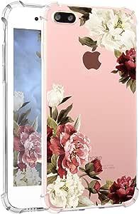 iPhone 7 Plus 手机壳 Hepix Clear iPhone 8 Plus 软弹性 TPU 水彩花朵印花后盖 iPhone 7 Plus iPhone 8 Plus [5.5 英寸]CHENXHA022 White-Red Peony