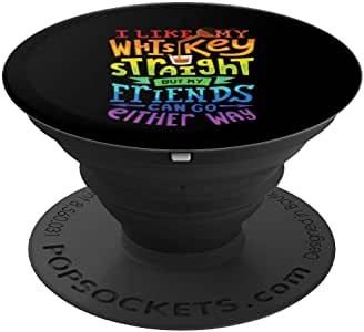 I Like My Whiskey Straight I Lesbian 同性恋自豪礼品 PopSockets 手机和平板电脑握架260027  黑色