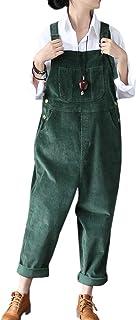 Flygo 女式休闲宽松宽松宽松休闲灯芯绒围兜裤阔腿裤连身裤