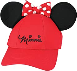 Disney Youth Hat Kids Cap with Mickey or Minnie Mouse Ears (Minnie Red)