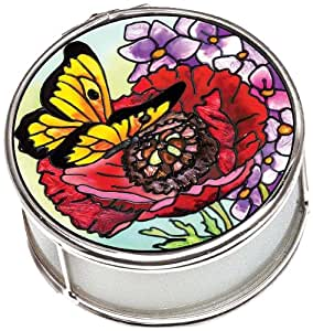 Amia 41575 Parade of Poppies Hand-Painted 2-Inch Circle Jewelry Box, Petite
