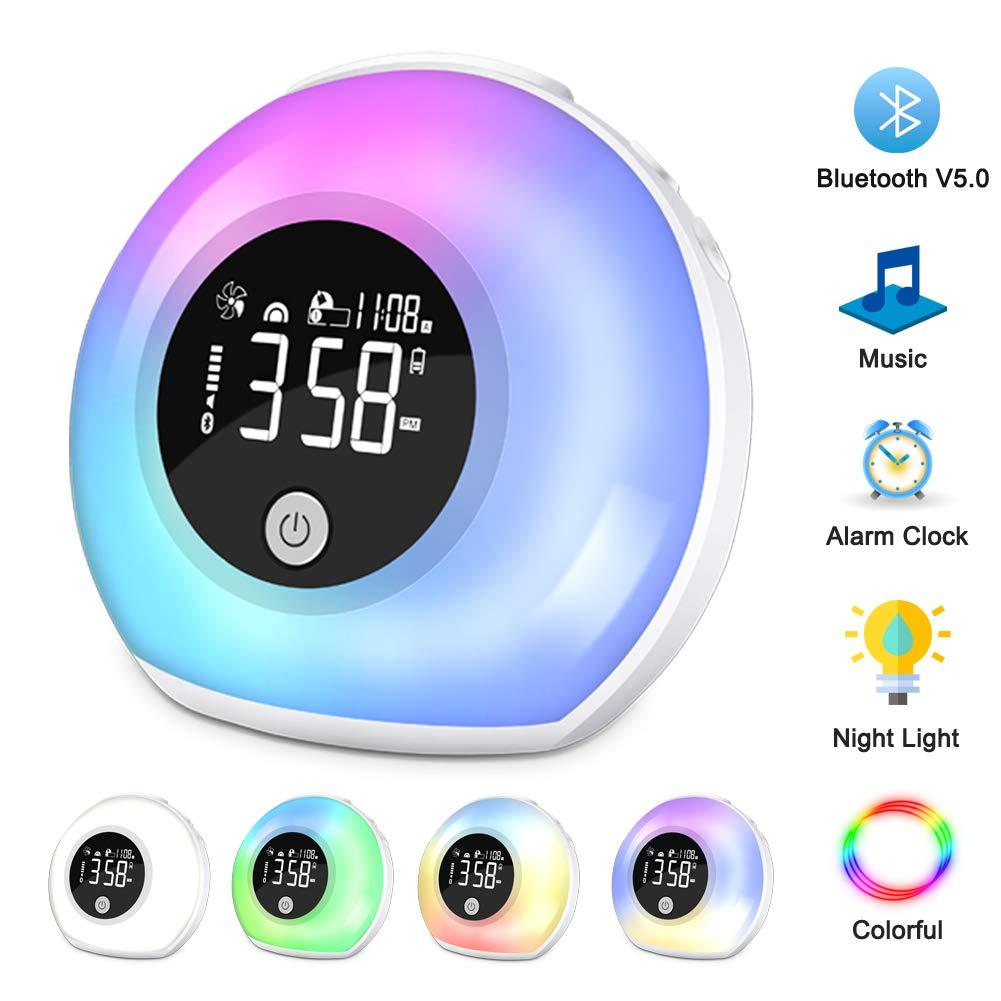斑点鱼唤醒灯光闹钟,蓝牙扬声器 V5.0 ,触摸控制和 5 种颜色卧室夜灯,白色
