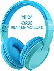 儿童耳机蓝牙无线 85db *大听力保护,立体声声音,SD 卡槽,可折叠头戴式耳机和内置麦克风无线耳机,适合男孩女孩