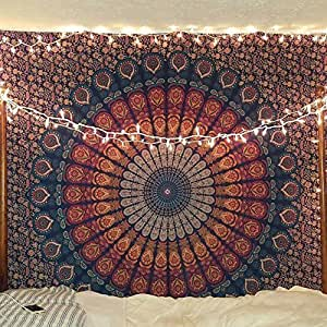 蓝色挂毯 壁挂 曼荼罗毯 印度棉质床单. Multi Colour Twin 55x85 Inches / 140x216 cm GCIT0215
