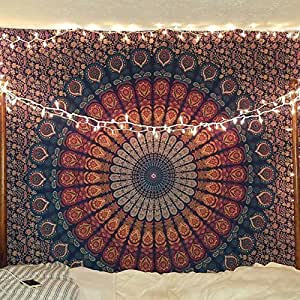 挂毯 Queen 嬉皮花朵美丽艺术作品墙壁装饰 mandala 海滩床单繁复印度床单 tapestries 233.7x 208.3cm aakriti 画廊