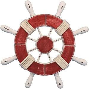 乡村风格浅蓝色和白色装饰 SHIP wheel 与船锚30.48cm–木制船 wheel–发货转向
