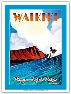太平洋岛艺术 - 冲浪 Waikiki Beach - 夏威夷太平洋游乐场 - 复古旅行海报 Wade Koniakowsky - 大师艺术印刷品 9 x 12 in PRTAWK106