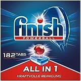 Finish All in 1 多效合一洗碗机用洗涤块,不含磷酸酯,带强力球,抵抗顽固油脂污渍,3个月用量,182块超值装