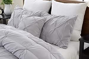 白色夹褶裥枕套 2 件套 - 奢华 680 支 * 埃及棉 装饰枕套 针织 欧式枕套 (2 件装,RV) Silver Grey Solid Euro/European 24''x24''