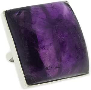 Nova Silver Bemine 大号方形紫水晶戒指,尺寸 N