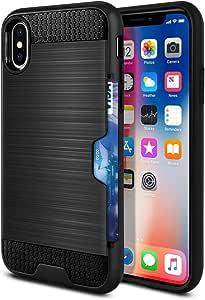 WIRESTER 手机壳兼容苹果 iPhone X XS 5.8 英寸双层拉绒混合保护套防震 TPU 卡钱包,适用于 iPhone X XS - 黑色/黑色 Black/Black