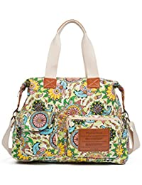 Malirona 帆布单肩包 旅行手提包 女式手提包 斜挎包 钱包 花卉设计