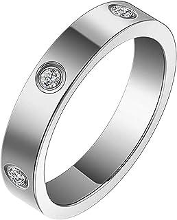 Drinkcomfort 水晶戒指,爱心戒指,承诺设计*佳礼物,送给爱女士 4.5 毫米钛钢戒指