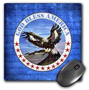 "3D 玫瑰哑光鼠标垫 - 8 x 8 God Bless America With Eagle 8 x 8"""