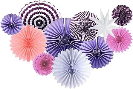 11 件派对装饰纸迷星新娘淋浴生日照片背景婚礼用品 紫色套装 PS-01PUR