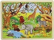 goki 德国木玩 儿童场景木质拼图拼板益智玩具早教48片非洲动物57892