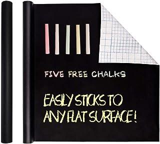 LOKATSE HOME 黑板触点纸卷可移除自粘黑板贴纸超大号 44.96 x 198.78 cm 黑色板乙烯基墙贴带 5 种赠送彩色粉笔、即剥即贴 DIY 墙纸