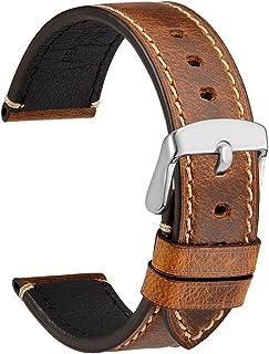 WOCCI 18 毫米 20 毫米 22 毫米 24 毫米表帶,優質鞍狀風格復古皮革表帶