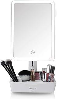 Fancii LED 照明大型化妆镜带 10 倍放大镜子 - 可调光自然光,触屏,双电源,带化妆品整理器的可调节支架 - Gala