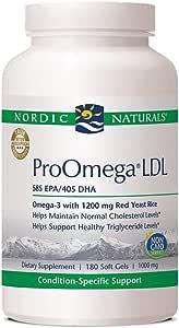 Nordic Naturals Pro ProOmega 低密度脂蛋白补充剂 支持健康功能 有助于保持胆固醇和甘油三酯水平的健康 180 粒软胶囊