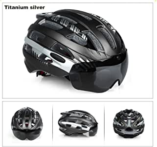 "V-Best 自行车骑行头盔带可拆卸磁性护目镜 遮阳罩 可调节男式女式 Road & Mountain 自行车头盔 *保护 L(22""-24"") 钛银 helmet with goggles"