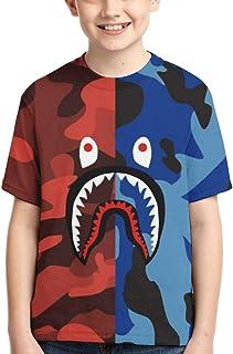 Bape Shark 半灰色迷彩男孩女孩 3D 印花短袖 T 恤时尚青少年 T 恤