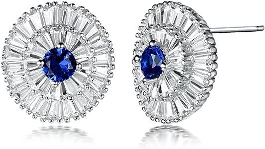 GULICX 银色圆形锆石 CZ 蓝宝石色派对女式珠宝耳钉