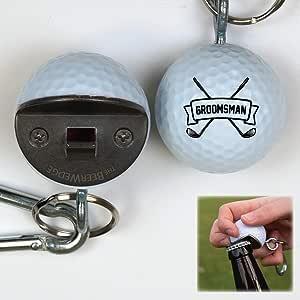 个性化 Groomsman 高尔夫球开瓶器,BeerWedge 由真正的高尔夫球制成,钥匙扣和登山扣,定制 Groomsman OGB-002-008
