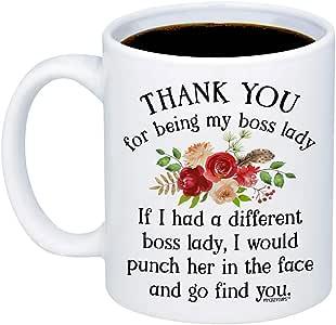MyCozyCups 礼物老少女款 - Thank You For Being My Boss 女士咖啡马克杯 - 适用于员工、管理人员、员工的女性-*圣诞礼物,老少女生日礼物 白色 11oz