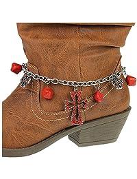 靴链 ~ 靴子手链 ~ 红色交叉靴子 脚链 (靴子 Charm 036b)