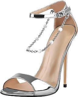 Richealnana 女式露趾链扣踝带正装凉鞋