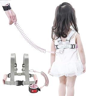 OFUN 幼儿*牵引绳,步行牵引绳,防丢失腕扣 2.5 米,儿童行*带,幼儿牵引带 樱桃粉