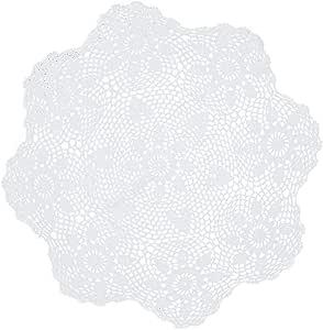 Kilofly 手工制作钩针棉花花边桌沙发桌,瀑布色 白色 34 inch White KTW384WHTs90