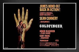 Pyramid America James Bond Goldfinger Sean Connery Secret Agent 007 间谍电影海报 11x17 金手指手 裱框海报 14x20 inches 348023