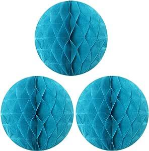 Allydrew 悬挂式派对装饰,10 英寸纸巾蜂窝球,适用于婚礼、生日派对、婴儿洗礼和育儿装饰(3 件装) Aqua, Set of 3 ABCD