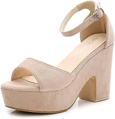 CAMSSOO 女式纯色露趾踝带高跟鞋楔形凉鞋阔跟防水台鞋 米色 US7.5/EUR38