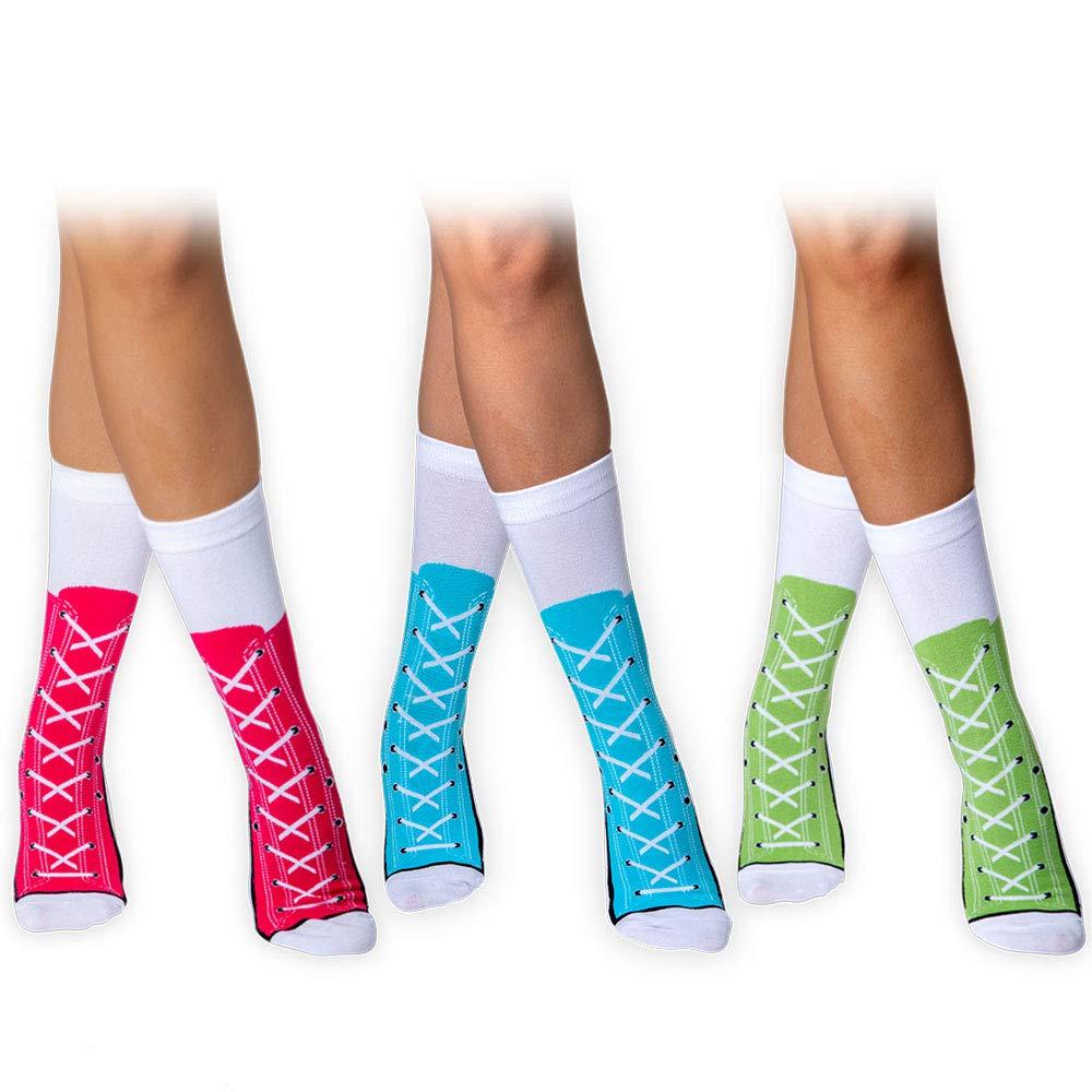 PAIRFORMANCE 袜筒及膝高筒女青年运动鞋有趣颜色棉鞋蕾丝
