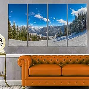"Designart MT11580-20-12 奥地利阿尔卑斯山地景观金属壁画,50.80x30.48cm,蓝色/白色 蓝色/白色 48x28"" - 4 Equal Panels MT11580-271"