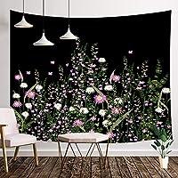 NYMB 花园绽放花卉,复古花卉边饰草本植物植物风格挂毯,挂毯壁挂,适用于卧室客厅宿舍电视背景,71X60IN 黑色