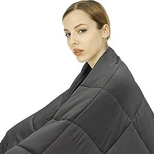 joybest 加重毯,成人女式厚毛毯 | 舒适透气棉材料 | 带玻璃珠的优质*毯 灰色 60''x80'',25 lbs