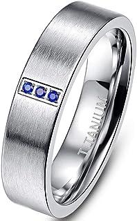 Cloyo 6 毫米银钛合金戒指男女款三颗蓝色水钻镶嵌磨砂婚戒尺寸 7-12