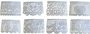 "Mexican Tissue Banner ""Papel Picado""非常适合婚礼、洗礼和生日宴会 白色 16 feet 170622"