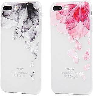 适用于 iPhone 7 Plus 手机壳,iPhone 8 Plus 手机壳,【2 件】印花花瓣透明水鸟缓冲柔软 TPU 背面透明缓冲橡胶硅胶保护盖适用于 iPhone 7/8 Plus 5.5 英寸