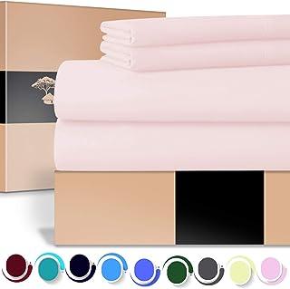 URBANHUT 埃及长绒棉床单套装(4 件套)700 支 - 床单深袋高级床上用品套装,奢华床单缎纹织物 腮红 加州King size